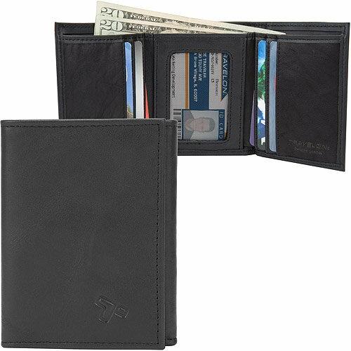 《TRAVELON》RFID真皮單鈔票層三折短夾(黑)