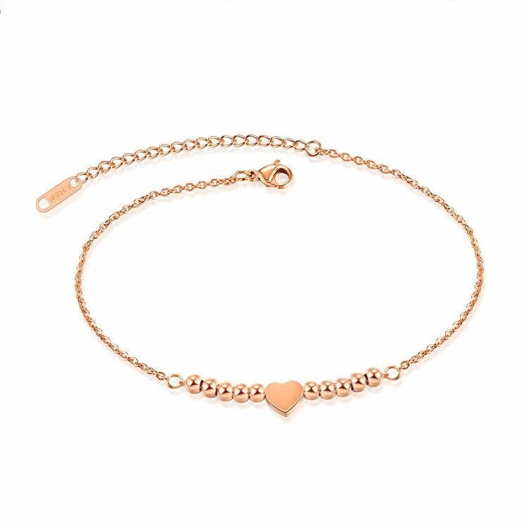 【5折超值價】時尚精美精緻特色愛心串珠造型女款鈦鋼腳鍊