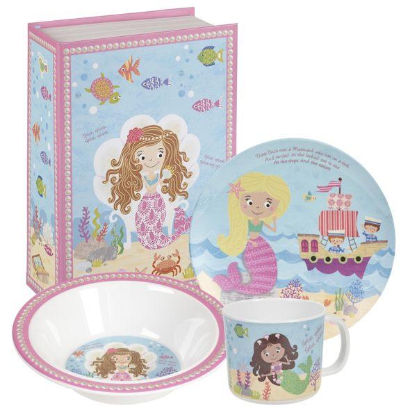 英國Churchill Queens兒童美耐皿3件餐具禮盒組(小美人魚)