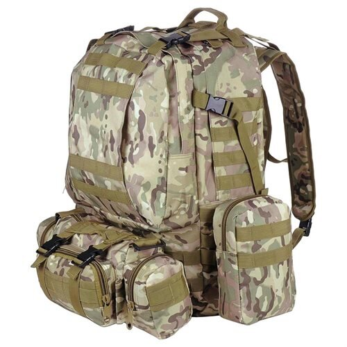 Outdoor Sport Hiking Camping Backpack Large 600D Oxford Trekking Bag W/ Adjustable Chest Belt CP Camouflage 0