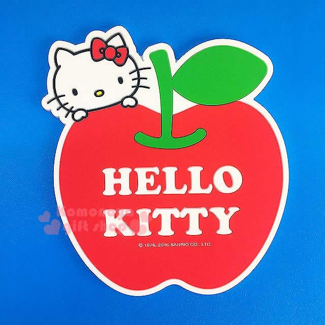 〔小禮堂〕Hello Kitty 造型環保防滑杯墊《紅.大臉.蘋果》生活小物