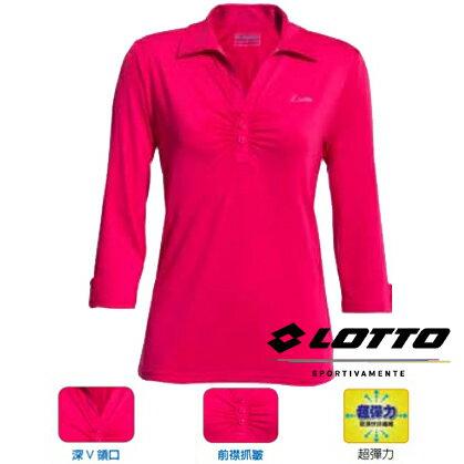【巷子屋】義大利第一品牌-LOTTO樂得女款超彈力七分袖運動上衣[63820]桃超值價$290
