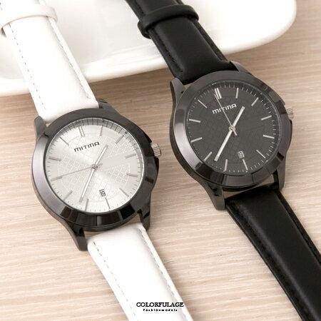 手錶 品味菱格紋面板刻度皮革腕錶 亮面烤漆錶框 貼心日期窗 柒彩年代~NE1867~單支售