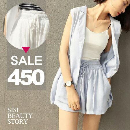 SiSi Girl:SISI【E6038】寬鬆無袖翻領罩衫外套+鬆緊抽繩寬管短褲套裝