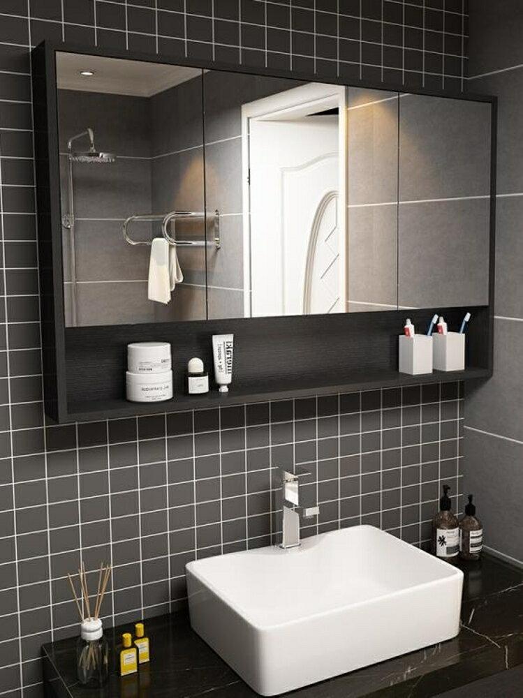 北歐多層實木浴室鏡櫃防水現代簡約衛生間鏡箱廁所壁掛儲物收納櫃  ATF 名購居家
