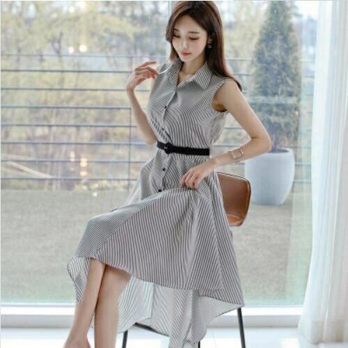 洋裝襯衫裙S-XL新款氣質條紋長裙時尚單排扣收腰襯衫連身裙NE49-7961.