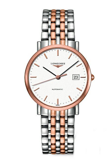 LONGINES L48105127雙色玫瑰金紳士機械腕錶/白面37mm