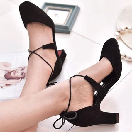 高跟鞋 甜美性感綁帶圓頭粗高跟鞋【S1574】☆雙兒網☆ 6