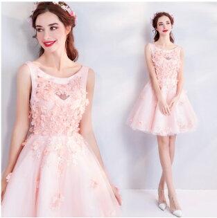 天使嫁衣【AE906】粉色甜心女孩滿版花片雙肩帶短禮服˙預購訂製款