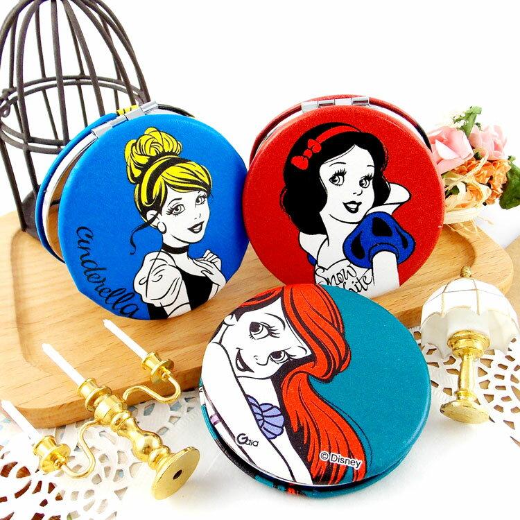 【Disney 】可愛圓形雙面折疊鏡/化妝鏡/隨身鏡-公主
