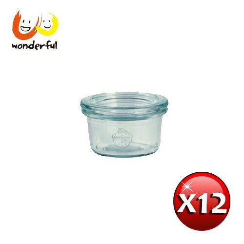 德國Weck 755玻璃罐附玻璃蓋與密封配件 mini Mold 50ml 12瓶裝