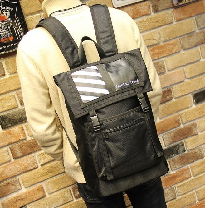 FINDSENSE Z1 韓國 時尚 潮 男 尼綸 條紋 校園 學生包 書包 後背包 雙肩包 電腦包
