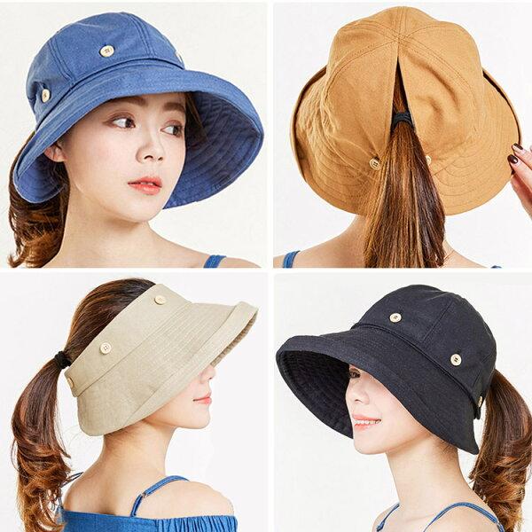 [免運]《馬尾帽》帽頂可拆馬尾遮陽帽防曬帽空心帽馬尾帽DL0035