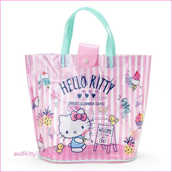 asdfkitty可愛家☆KITTY粉條紋冰淇淋防水半透明手提水桶袋-好擦好洗-游泳玩水好用-日本正版商品