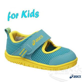 ASICS亞瑟士 SUKU2 兒童學步涼鞋 魔鬼氈 (藍)