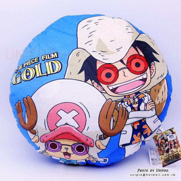 ~UNIPRO~航海王 One Piece 電影版 GOLD 魯夫 喬巴 圓枕 35公分