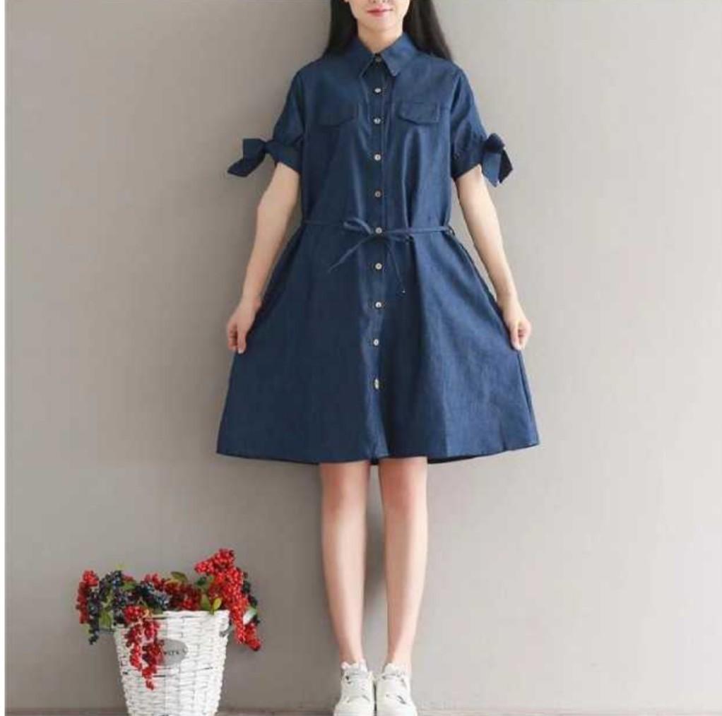 《全店399免運》中大尺碼 [森藍2] ★森女棉質蝴蝶結綁袖清新短袖洋裝[M~2XL] - 御聖願