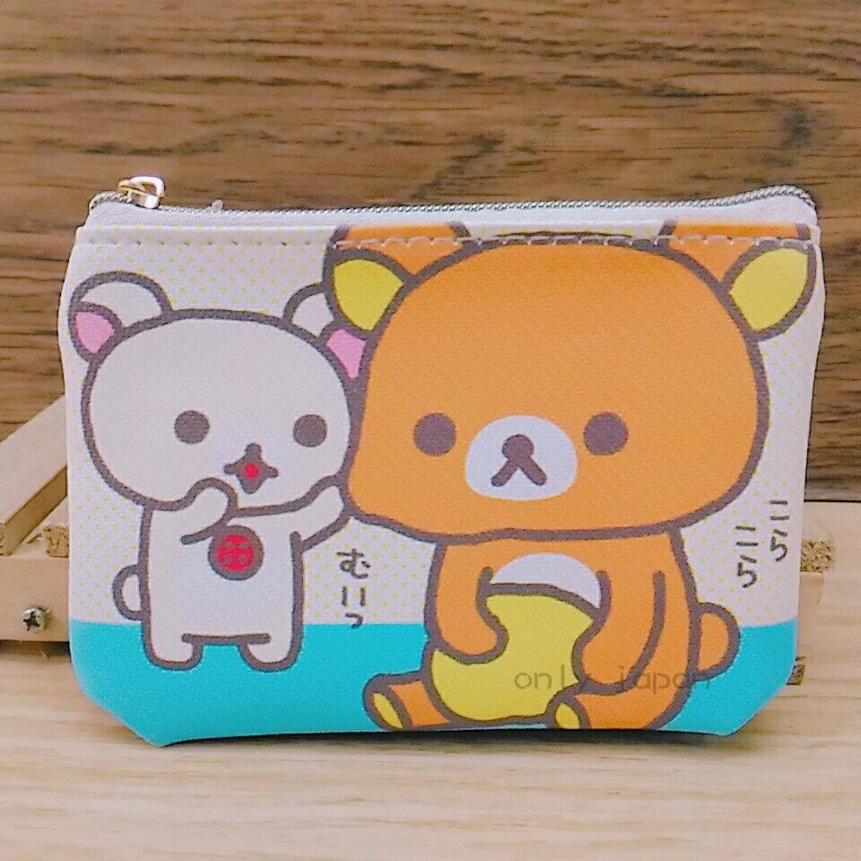 【真愛日本】18020100048 斜紋皮革零錢包-奶熊捏臉藍底 san-x 拉拉熊 懶熊 收納包 零錢包 小錢包