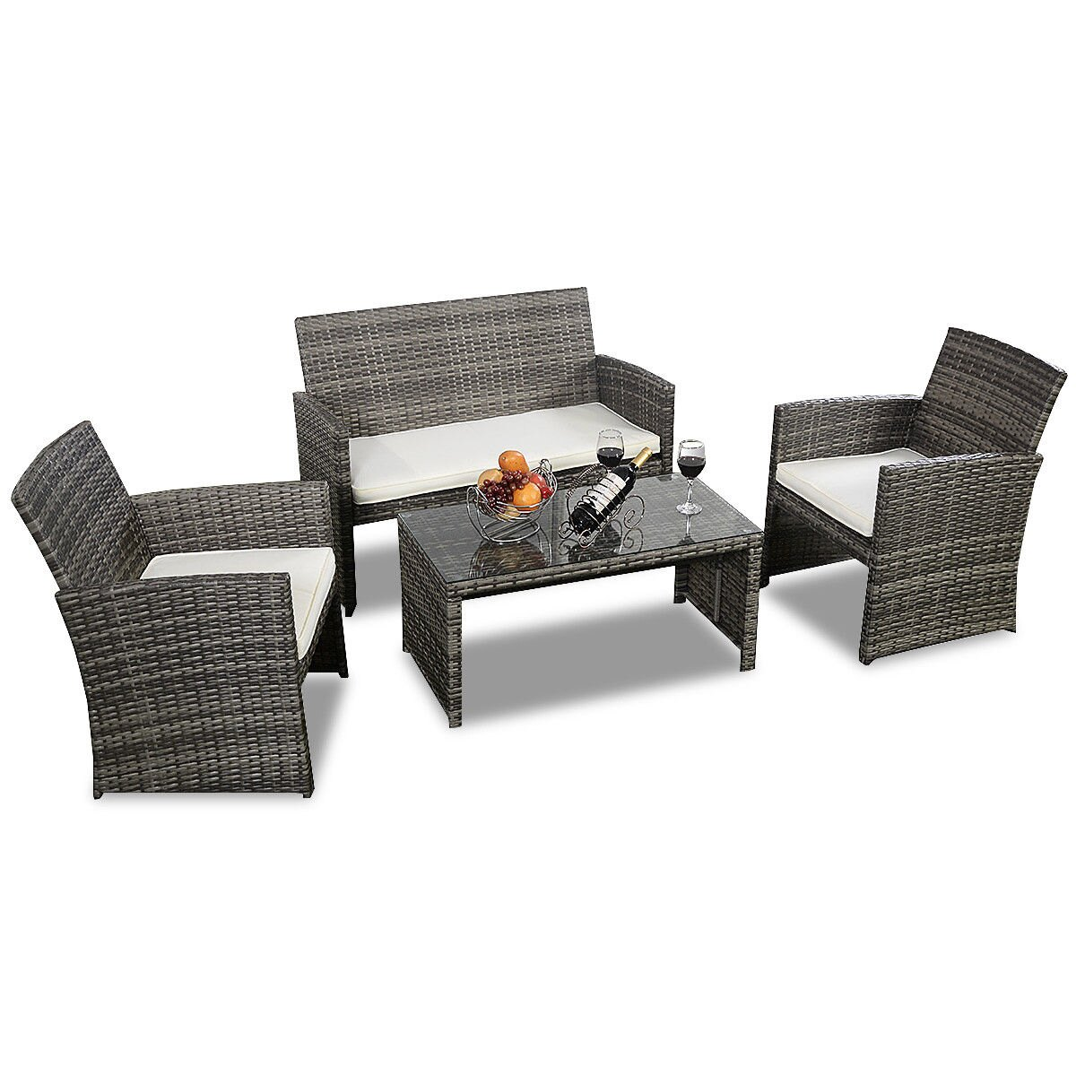 Costway 4 Pc Rattan Patio Furniture Set Garden Lawn Sofa Cushioned Seat Mix  Gray Wicker 2