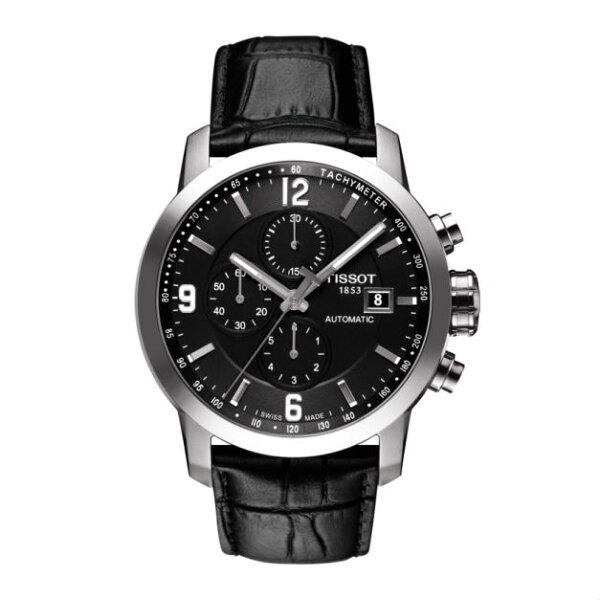 TISSOT天梭錶T0554271605700三眼經典計時機械錶黑面43mm