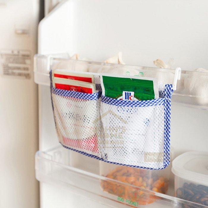 約翰家庭百貨》【AA302】冰箱門內側邊雙格掛式收納袋 調味料醬包收納網袋 小物件冰箱懸掛式便利易分類收納盒 隨機出貨