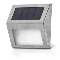 Solar Powered Stainless Steel 2 LED White Staircase Step Light Landscape Garden Path Wall Lamp