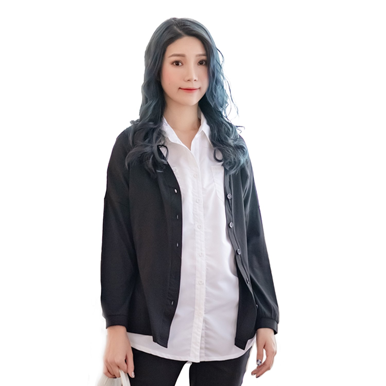 薄外套--清甜魅力性感裸背大V後領抽繩綁帶前鈕扣拼接袖遮陽薄外套(白.黑XL-4L)-J296眼圈熊中大尺碼 0