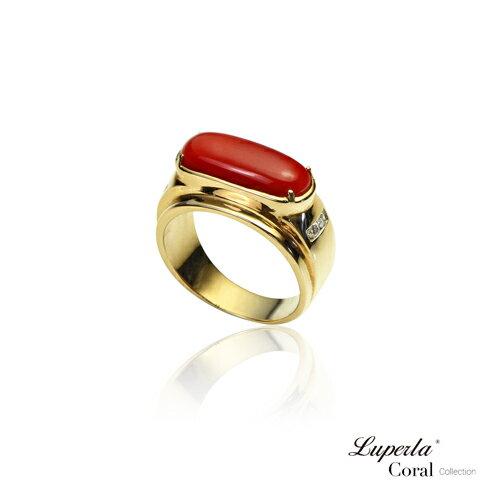 大東山珠寶 典藏 頂級深紅阿卡珊瑚真鑽14K金戒指 0