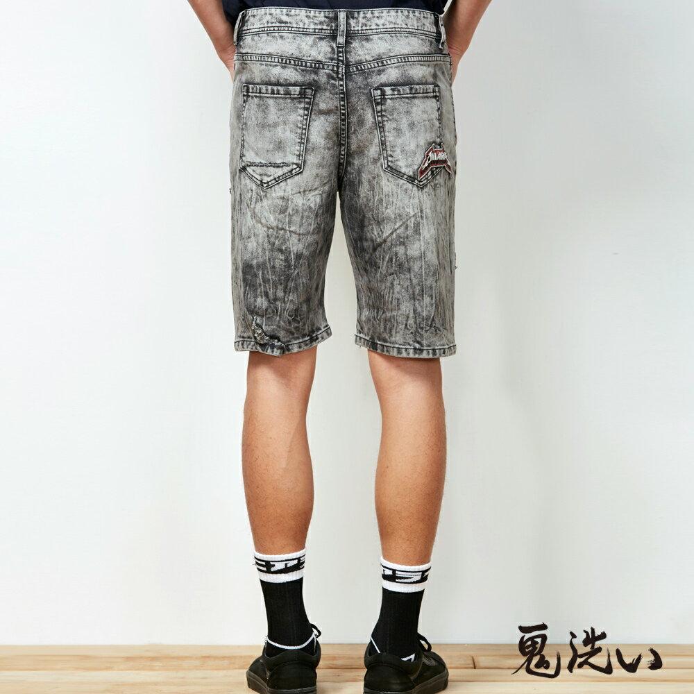 【春夏新品】鬼洗潮標水洗刷破短褲  - BLUE WAY  ONIARAI鬼洗 3