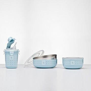 美國【Kangovou】 小袋鼠不鏽鋼安全兒童餐具簡配組(野莓藍)