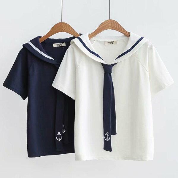 【55183535】海軍海錨披肩短袖上衣