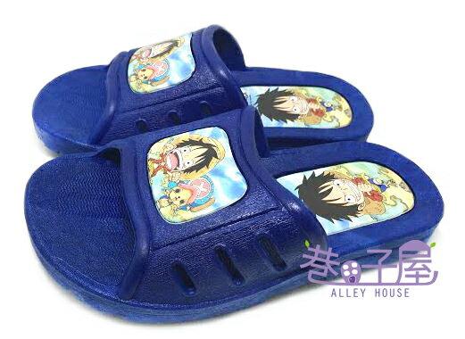 【巷子屋】海賊王 ONE PIECE 童款造型拖鞋 深藍 MIT台灣製造 超值價$100