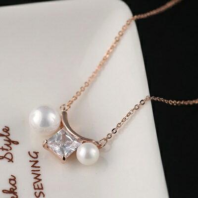 ~純銀項鍊 鍍18K金珍珠吊墜~ 清新 情人節生日 女飾品73dn74~ ~~米蘭 ~