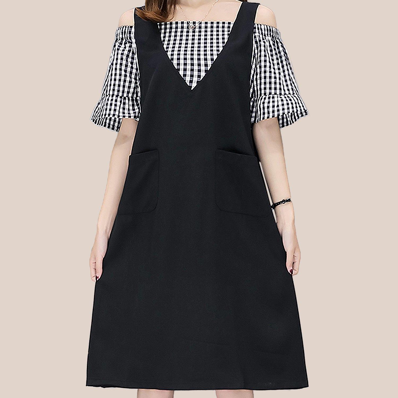性感洋裝--假兩件甜美性感露肩格紋A字版型口袋V領短袖洋裝(黑L-3L)-D493眼圈熊中大尺碼 0