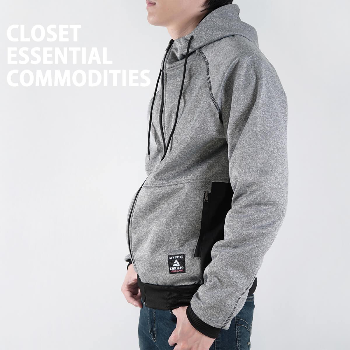 內刷毛連帽保暖外套 夾克外套 運動外套 休閒連帽外套 刷毛外套 黑色外套 時尚穿搭 WARM FLEECE LINED JACKETS (321-8916-01)淺灰色、(321-8916-02)深灰色、(321-8916-03)黑色 L XL 2L(胸圍46~50英吋) [實體店面保障] sun-e 6
