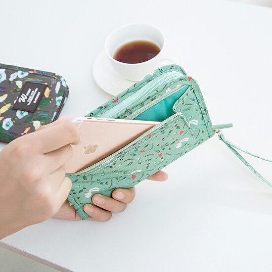 ♚MY COLOR♚多功能收納錢包 印花 韓版 護照包 旅遊 出差 皮夾 長夾 手機 筆袋 動物【G10-1】