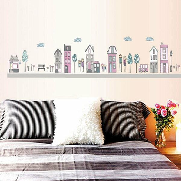 BO雜貨【YV4209】創意可移動壁貼 牆貼 背景貼 時尚組合壁貼 卡通城市