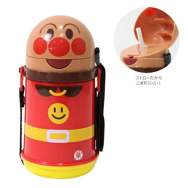 日本代購預購ANPANMAN麵包超人按壓式彈跳吸管背帶水壺400ml707-011