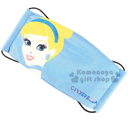 〔小禮堂〕迪士尼 仙杜瑞拉 成人平面口罩《藍.大臉.LOGO》透氣棉材質