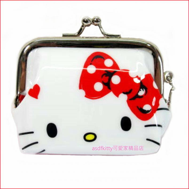KITTY紅蝴蝶結雙珠扣零錢包-防水材質-可當印章袋-附吊飾錬-日本正版商品