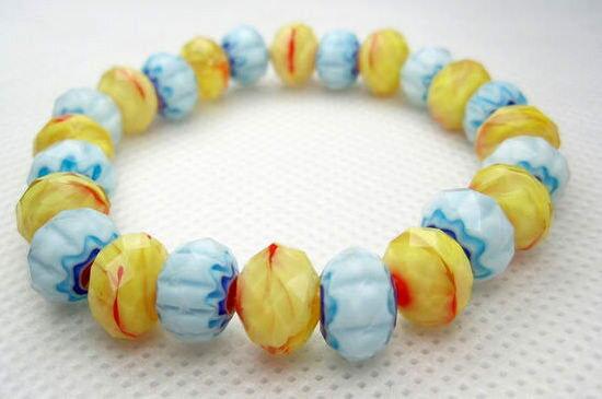 飾品 超精美紋理超閃亮黃色+藍色水晶珠手鏈/手鐲