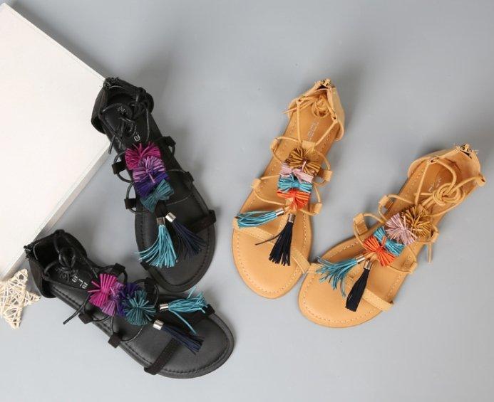 Pyf ♥ 波西米亞渡假風 流蘇綁帶平底涼鞋 羅馬鞋 42 大尺碼女鞋