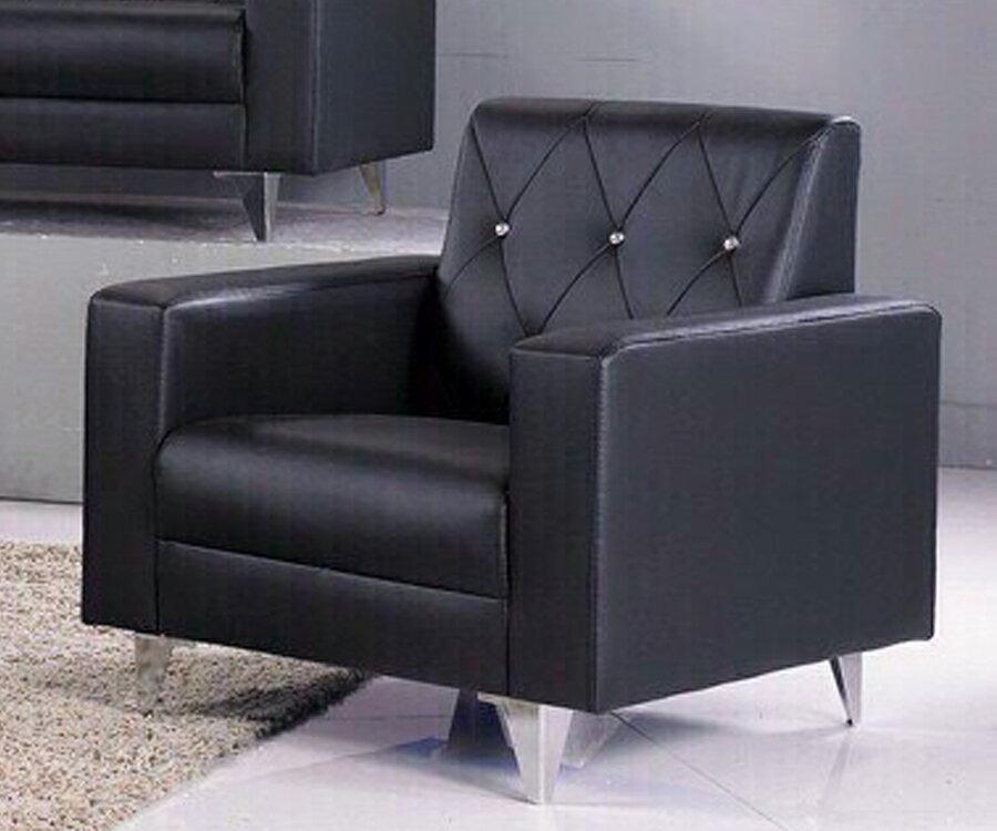 !新生活家具!《摩洛哥》黑色 水鑽 皮沙發 單人椅 一人位沙發 工廠直營.臺灣製造