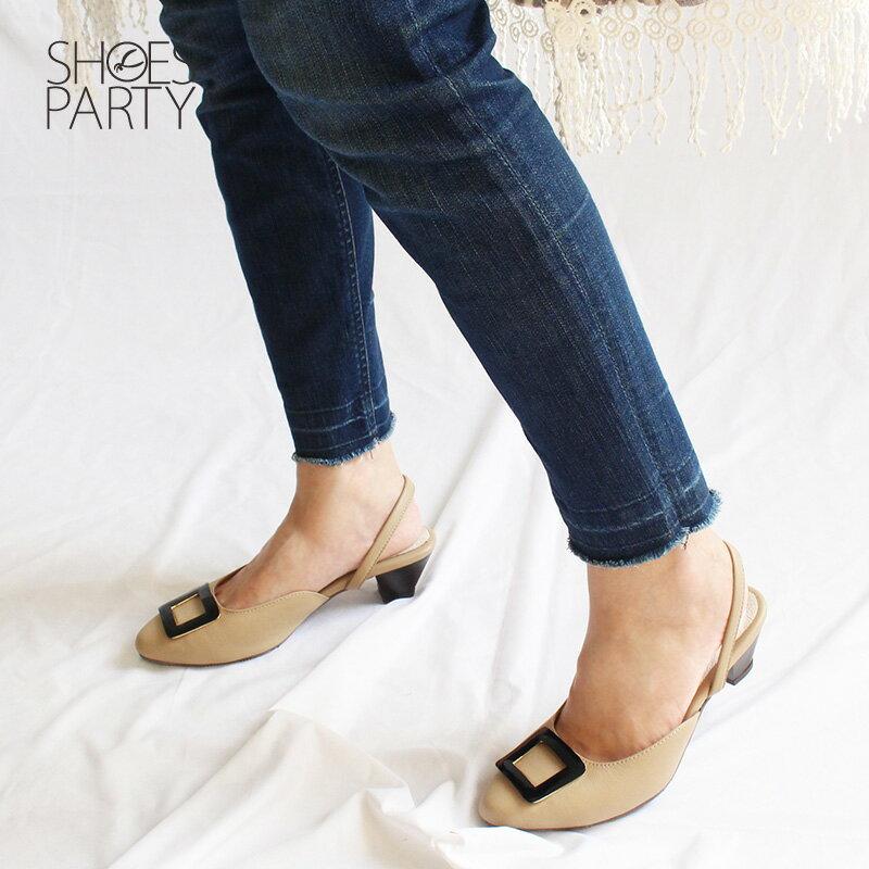 【S2-18526L】大方扣真皮中跟穆勒鞋_Shoes Party 3