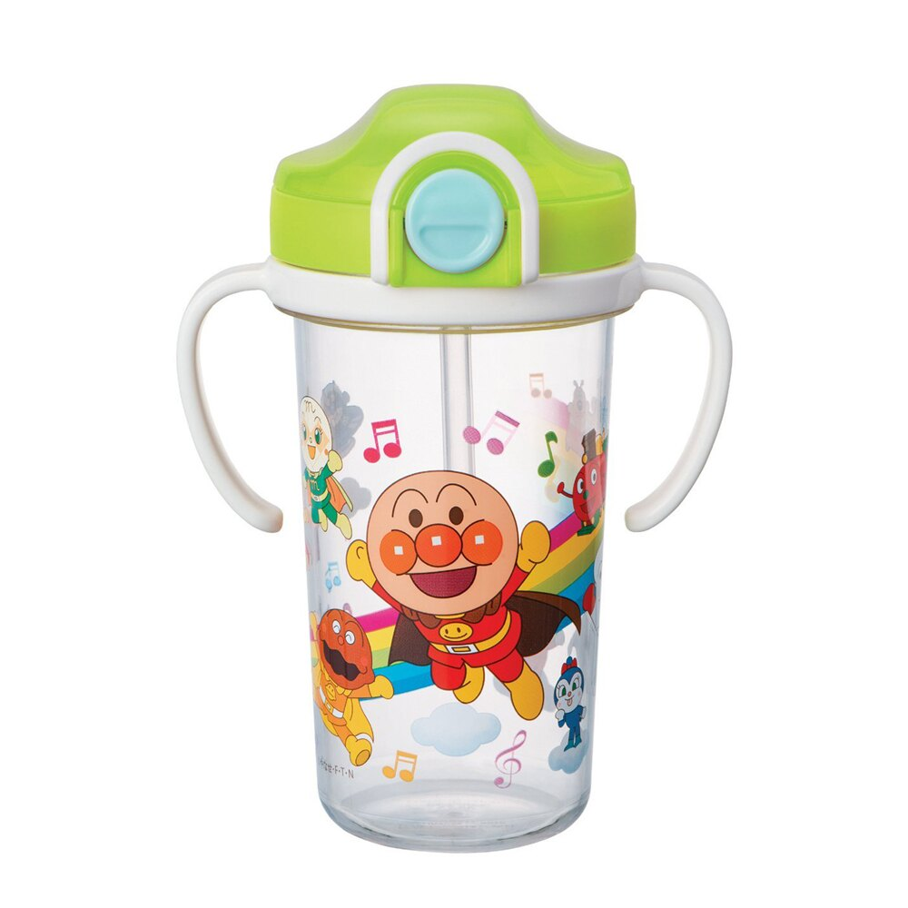麵包超人Anpanman二手吸管練習杯 彈蓋 學飲杯 喝水杯 水壺帶手柄 300ML 日本進口正版 300705