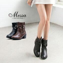【Messa米莎專櫃女鞋】騎士風側拉鍊復古扣環高跟短靴-兩色