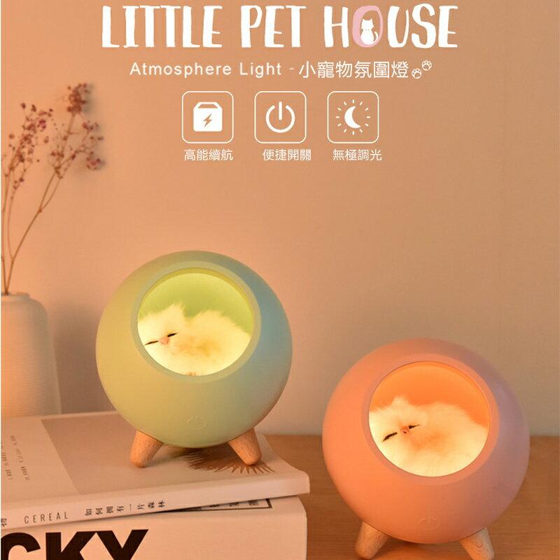 萌貓夜燈 小寵物氛圍燈 USB小夜燈 床頭燈 伴睡夜燈 嬰兒 USB可調光 學生宿舍家用檯燈