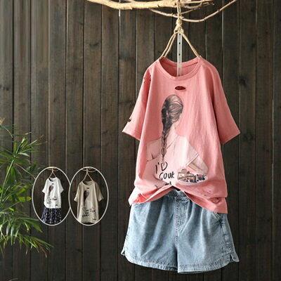 短袖T恤打底衫-卡通印花破洞有型女上衣3色73sj6【獨家進口】【米蘭精品】
