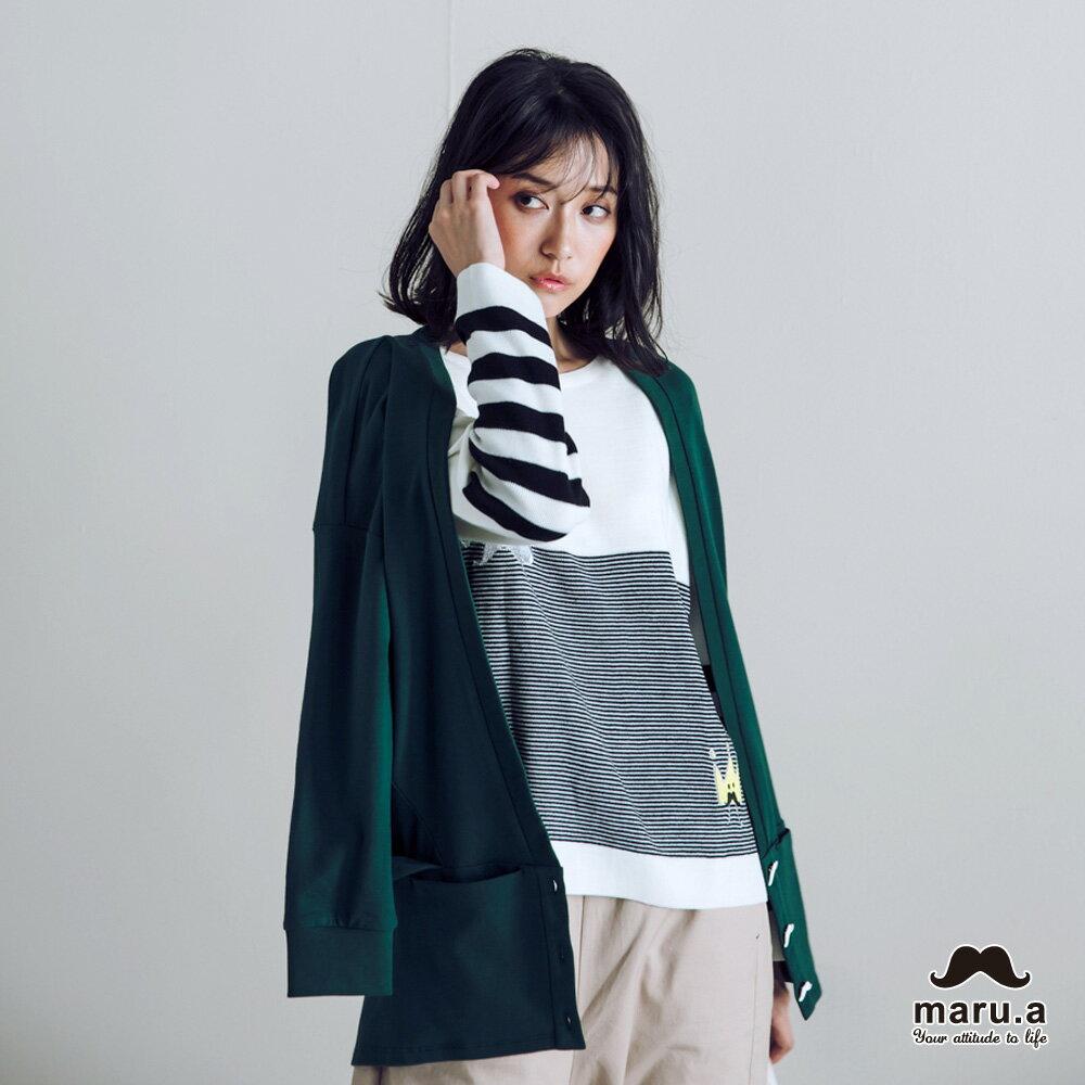 【maru.a】大V領寬鬆舒適開襟外套(2色)7921111 5
