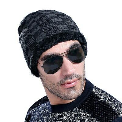 <br/><br/>  ☆針織毛帽男帽子-韓版流行方格設計男配件5色73if51【獨家進口】【米蘭精品】<br/><br/>